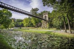 Bajka most z zieloną trawą Obrazy Stock