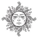Bajka stylu ręka rysujący słońce z twarze ludzkie Zdjęcie Royalty Free