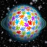 Bajki łamigłówki fantastyczna planeta z turkusu pierścionkiem na czarnym tle pełno gwiazdy Fotografia Royalty Free