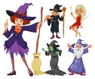 Bajki ustawiać z czarownicą i czarownikiem royalty ilustracja