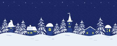 Bajki zimy krajobraz Bezszwowa granica z fantastycznymi stróżówkami i jedlinowymi drzewami ilustracja wektor