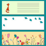 Bajner für Frühlings-Website, Karikatur, Vogel, Blumen, Katze Lizenzfreies Stockbild