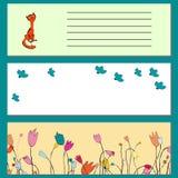 Bajner para el sitio web de la primavera, historieta, pájaro, flores, gato Imagen de archivo libre de regalías