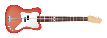 Bajo clásico rojo de la guitarra eléctrica Fotografía de archivo libre de regalías