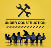 Bajo concepto del icono de la señal de peligro de la construcción Fotografía de archivo