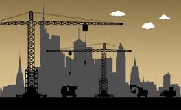 Bajo construcción, ciudad de Francfort, Alemania ilustración del vector