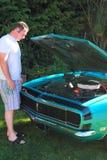 Bajo el capo motor.   Imagen de archivo