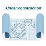 Bajo el cartel de la construcción libre illustration