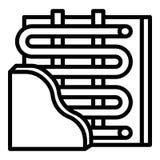 Bajo icono del calentador de la pared, estilo del esquema libre illustration