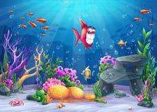 Bajo la superficie del mar con los pescados divertidos stock de ilustración