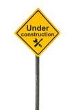 Bajo señal de tráfico de la construcción. Fotografía de archivo