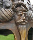 Bajorrelieve del mito en casco del medievel Fotografía de archivo