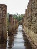 Bajorrelieve en las ruinas del templo de Bayon Imagen de archivo libre de regalías