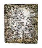 Bajorrelieve que talla con de un Quetzalcoatl, civilización precolombina del maya Bosquejo con efectos coloridos del color de agu libre illustration