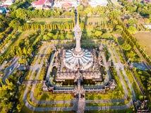 Bajra Sandhi纪念碑登巴萨巴厘岛印度尼西亚鸟瞰图  免版税库存图片