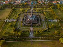 Bajra Sandhi纪念碑登巴萨巴厘岛印度尼西亚鸟瞰图  免版税图库摄影
