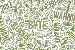 Bajt, konceptualna słowo chmura dla biznesu, technologie informacyjne lub IT, ilustracji