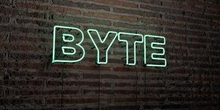 BAJT - Realistyczny Neonowy znak na ściana z cegieł tle - 3D odpłacający się królewskość bezpłatny akcyjny wizerunek ilustracja wektor