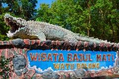 Bajul马季死的鳄鱼海海滩,消遣公园标志板 库存照片