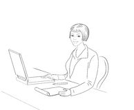bak affärskvinnaarbete Arkivbild