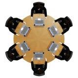 bak arbete för rund tabell för affärsmanbärbar dator Royaltyfri Fotografi