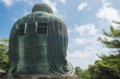 Bak av den stora Buddha Daibutsu i Tokyo Japan Arkivfoto