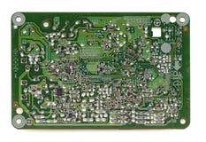 Bak av det gamla brädet för elektronisk strömkrets som isoleras på vit arkivfoton