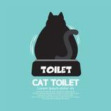 Bak av en Cat Using Toilet royaltyfri illustrationer