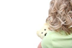 bak björnflickan som rymmer little nalle Fotografering för Bildbyråer