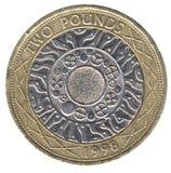 bak brittiskt myntpund två Royaltyfri Foto
