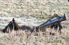 bak den gammala utrustninglantgården plöja att dra traktortrailen Fotografering för Bildbyråer