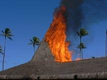 bak det tropiska brandhuset royaltyfria bilder
