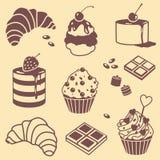 Bak en geplaatste snoepjes stock illustratie