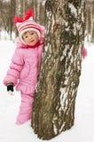bak flicka little tree Royaltyfri Bild