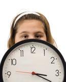 bak klockaflickanederlag Arkivbild