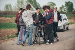 bak plats Utomhus- plats för film för filmande för filmbesättning Fotografering för Bildbyråer