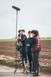 bak plats Utomhus- plats för film för filmande för filmbesättning Arkivbild