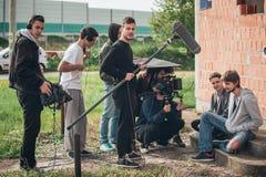 bak plats Utomhus- plats för film för filmande för filmbesättning Arkivbilder
