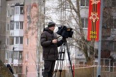 Bak platserna av video produktion eller video skytte - Ryssland - Berezniki p? 9 kan 2018 royaltyfria bilder
