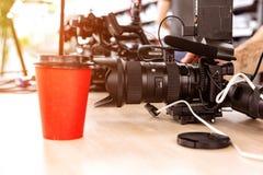 Bak platserna av video produktion- eller videoskytte E arkivbild