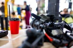 Bak platserna av video produktion- eller videoskytte E arkivbilder