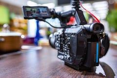 Bak platserna av video produktion- eller videoskytte E fotografering för bildbyråer