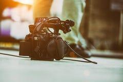 Bak platserna av video produktion- eller videoskytte E arkivfoto
