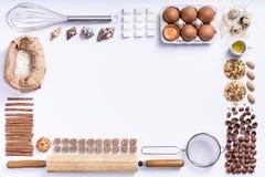 Baka eller laga mat bakgrundsramen Ingredienser kökobjekt f Royaltyfria Foton
