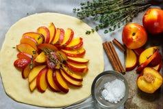 Baka en mördegstårta med persikor, nektariner Ingredienserna på tabellen - deg, persikor, nektariner, socker, kanel, timjan Arkivfoton