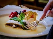 Baka ihop med mintkaramellen, vaniljpudding och massor av frukt Fotografering för Bildbyråer