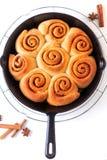 Baka nya bakade hemlagade kanelbruna rullar för matbegrepp i kastrulljärnpanna på vit bakgrund royaltyfri foto