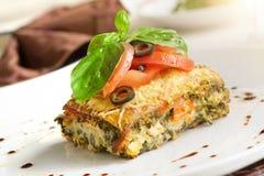 Bakad aubergine. Den italienska maträtten Arkivfoto