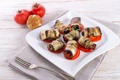 Bakad aubergine med grönsaker Royaltyfria Foton
