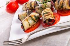 Bakad aubergine med grönsaker Royaltyfria Bilder
